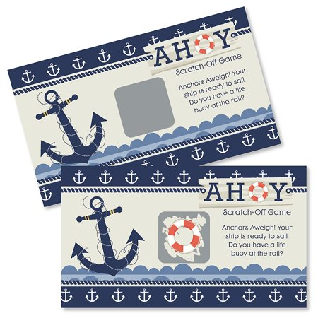 Ahoy Nautical - Baby Shower or Birthday Party Game Scratch Off Cards - 22 Count - Toddler Birthday Games