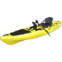 BKC PK13 13' Pedal Drive Fishing Kayak W/ Rudder System, Paddle, Upright Back Support Aluminum Frame Seat, 1 Person Foot Operated Kayak