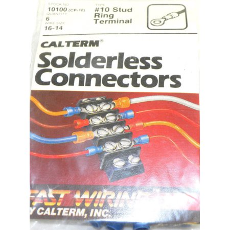 Terminal Stud Size - Calterm 10100 (CP-10) Wire Size 16-14 #10 Stud Size Ring Terminal 6 Pcs