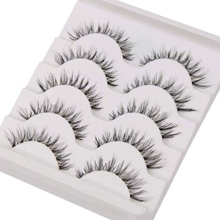 Entire Box (FeelGlad 5 PairsFalse Eyelash Kit with Clamp, 10 Lashes Fake Eyelashes, Soft Flexible False Eyelasheswith Box, Entire Eyelids for Ladies)