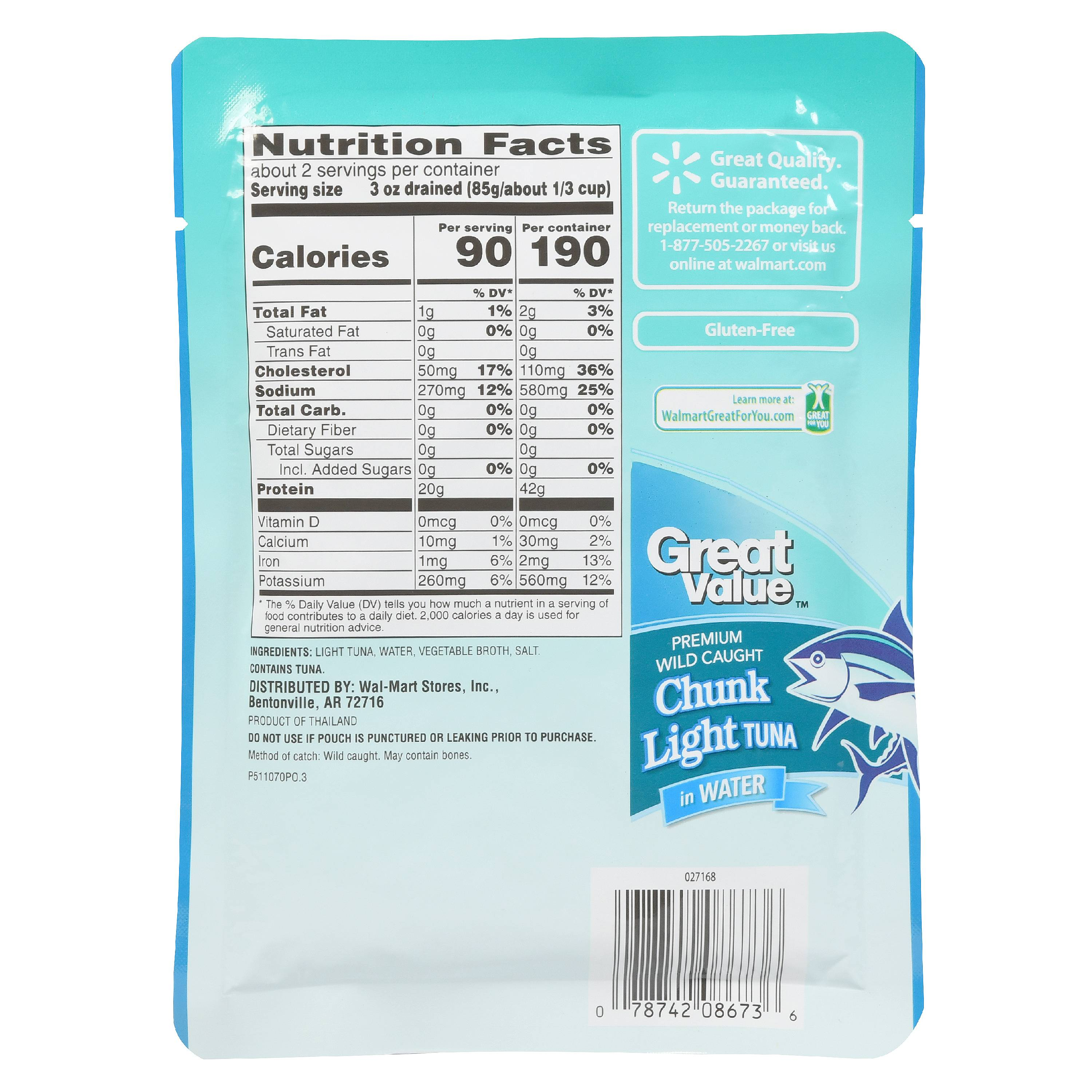 Chunk light tuna in water nutrition facts sardines in for Calories in tuna fish