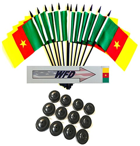 """Wholesale Lot of 6 Cameroon 4/""""x6/"""" Desk Table Stick Flag"""