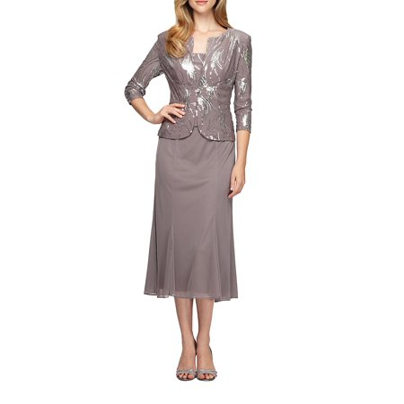 2-Piece Sequined Popover Gown and Jacket 2 Piece Jacket Pants