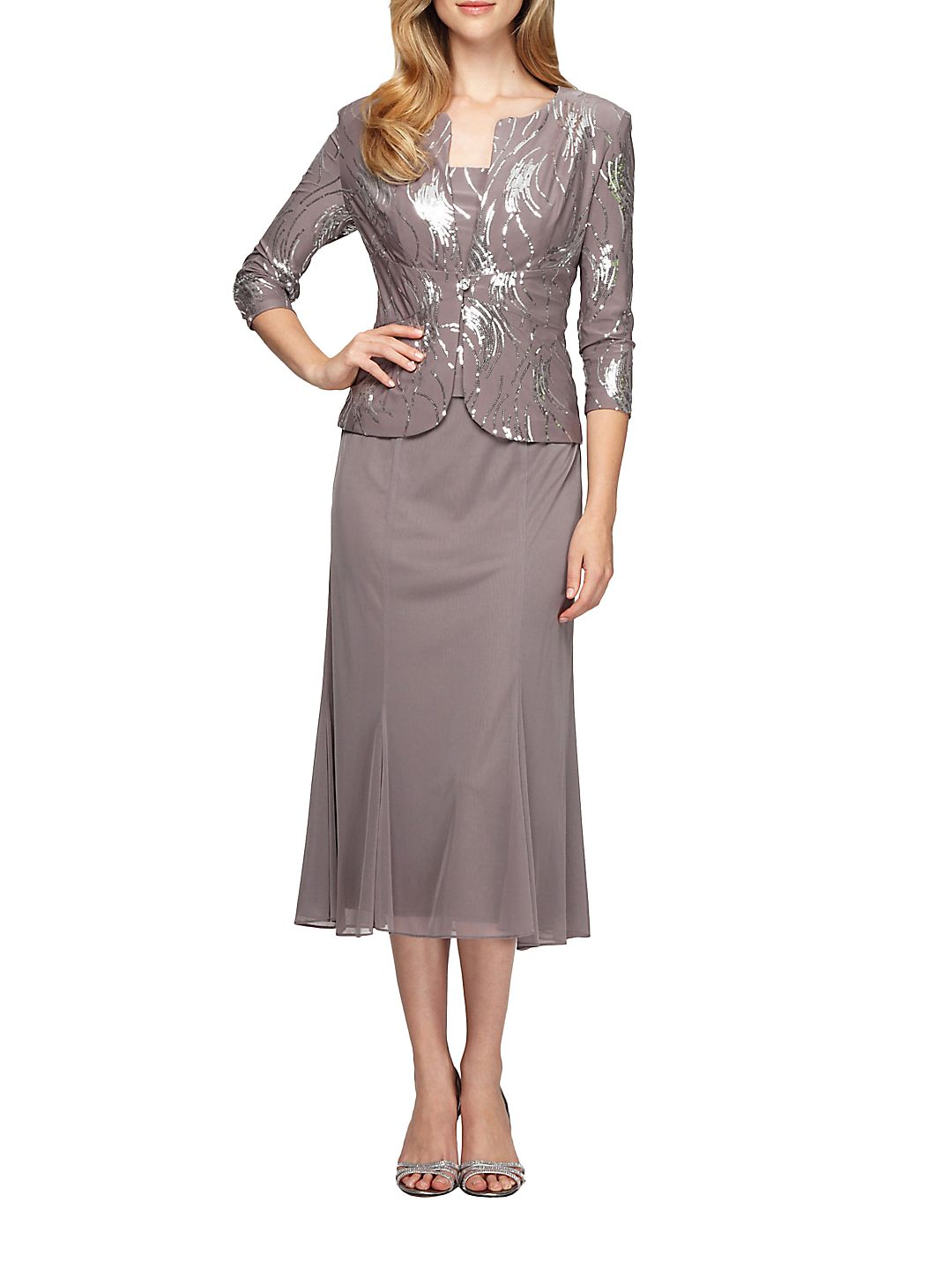 2-Piece Sequined Popover Gown and Jacket