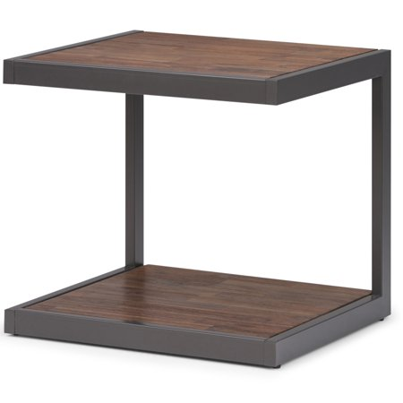 Brooklyn + Max Larny Solid Acacia Wood and Metal 24 inch Wide Rectangle Modern Industrial End Side Table in Rustic Natural Aged