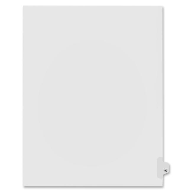 Index Dividers,Number 99,Side Tab,1/25 Cut,Letter,25/PK,WE KLF91099