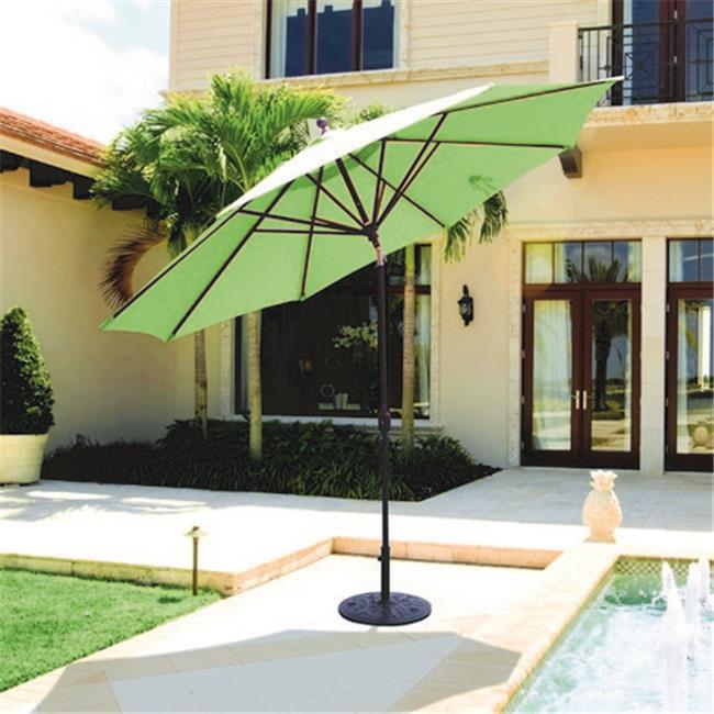 Galtech 11 ft. Black Deluxe Auto Tilt Umbrella - Taupe Sunbrella