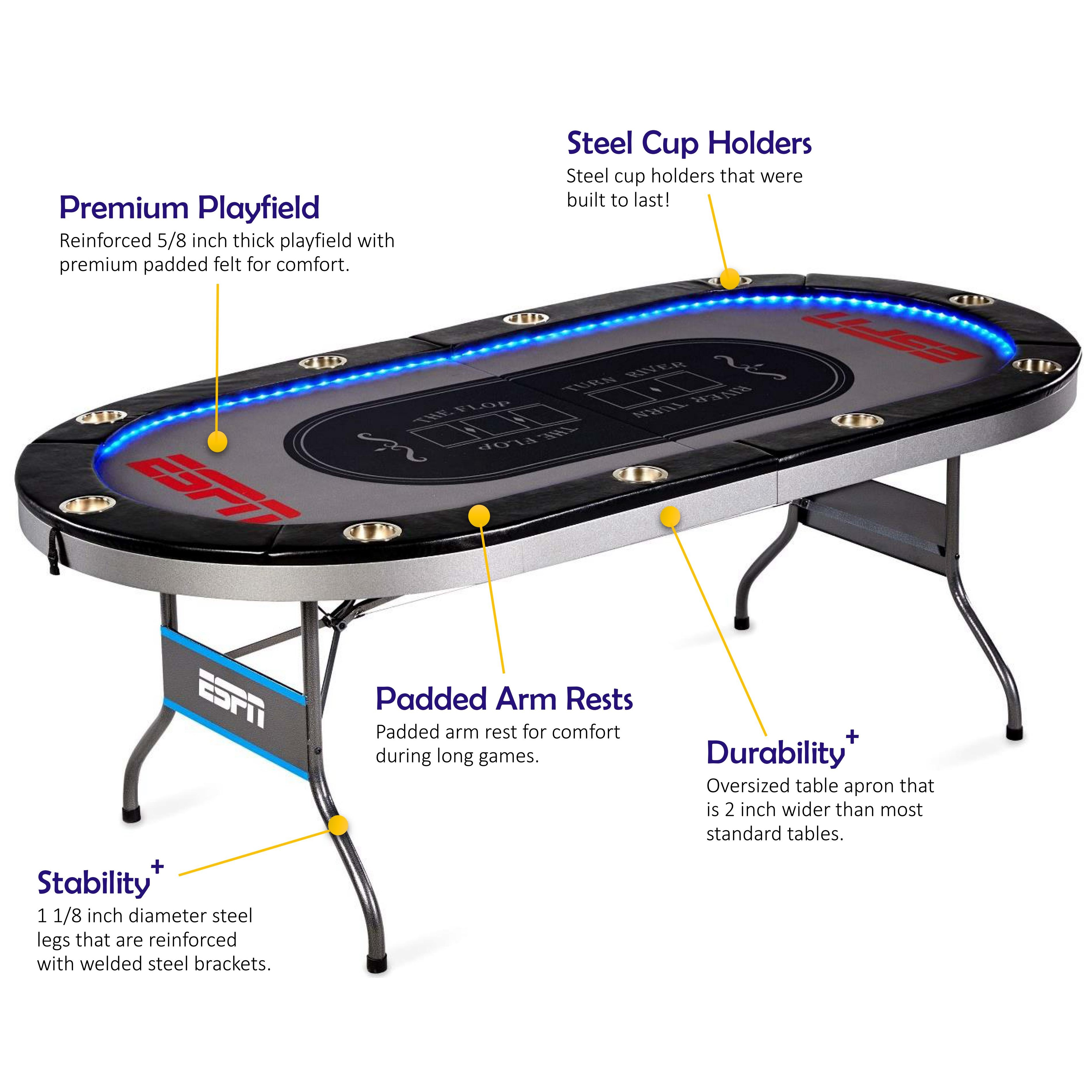 ESPN 10 Player Premium Poker Table with In-Laid LED Lights, No assembly required by MEDAL SPORTS TAIWAN CORPORATION