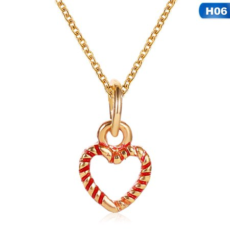 AkoaDa 2019 New Christmas Pendant Necklace Crystal Christmas Tree Heart Snowflake Necklace Christmas Jewelry Gifts ()