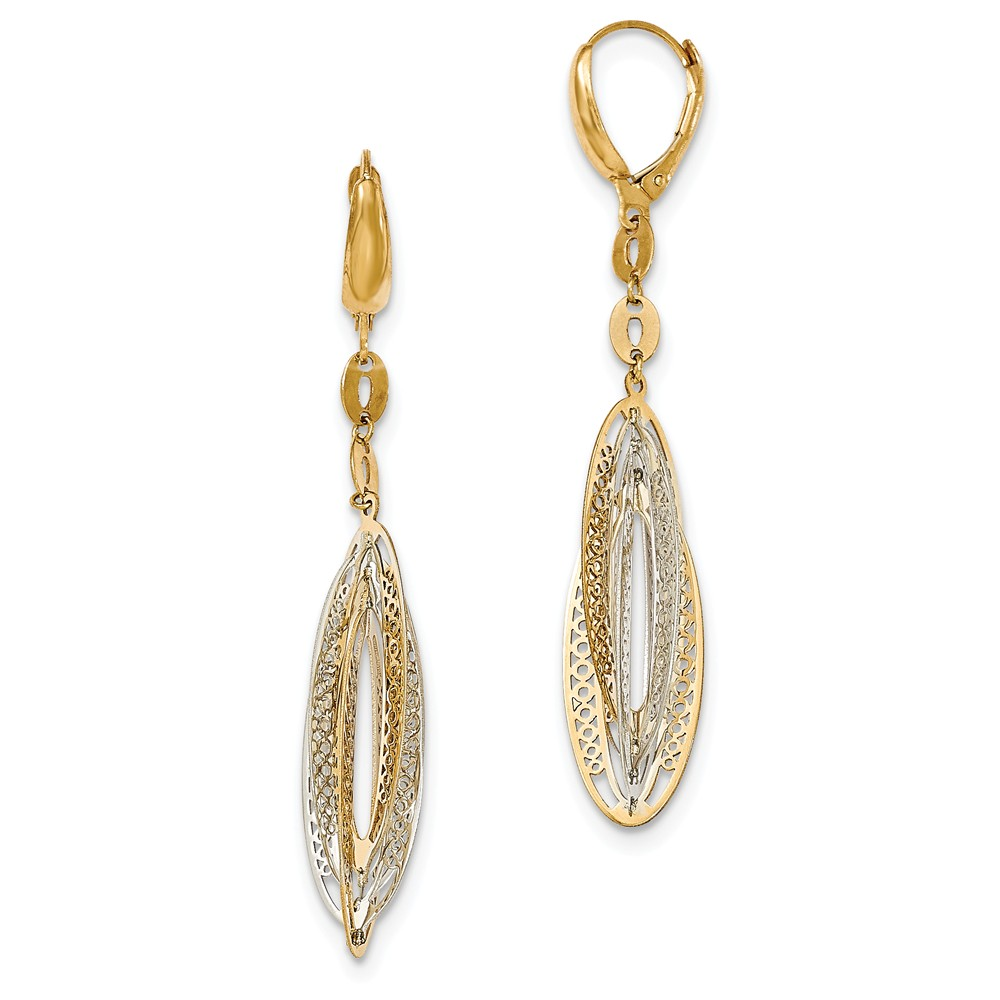 14K Two Tone White & Yellow Gold Polished Dangle Leverback Earrings (63MM Long x 10MM Wide)