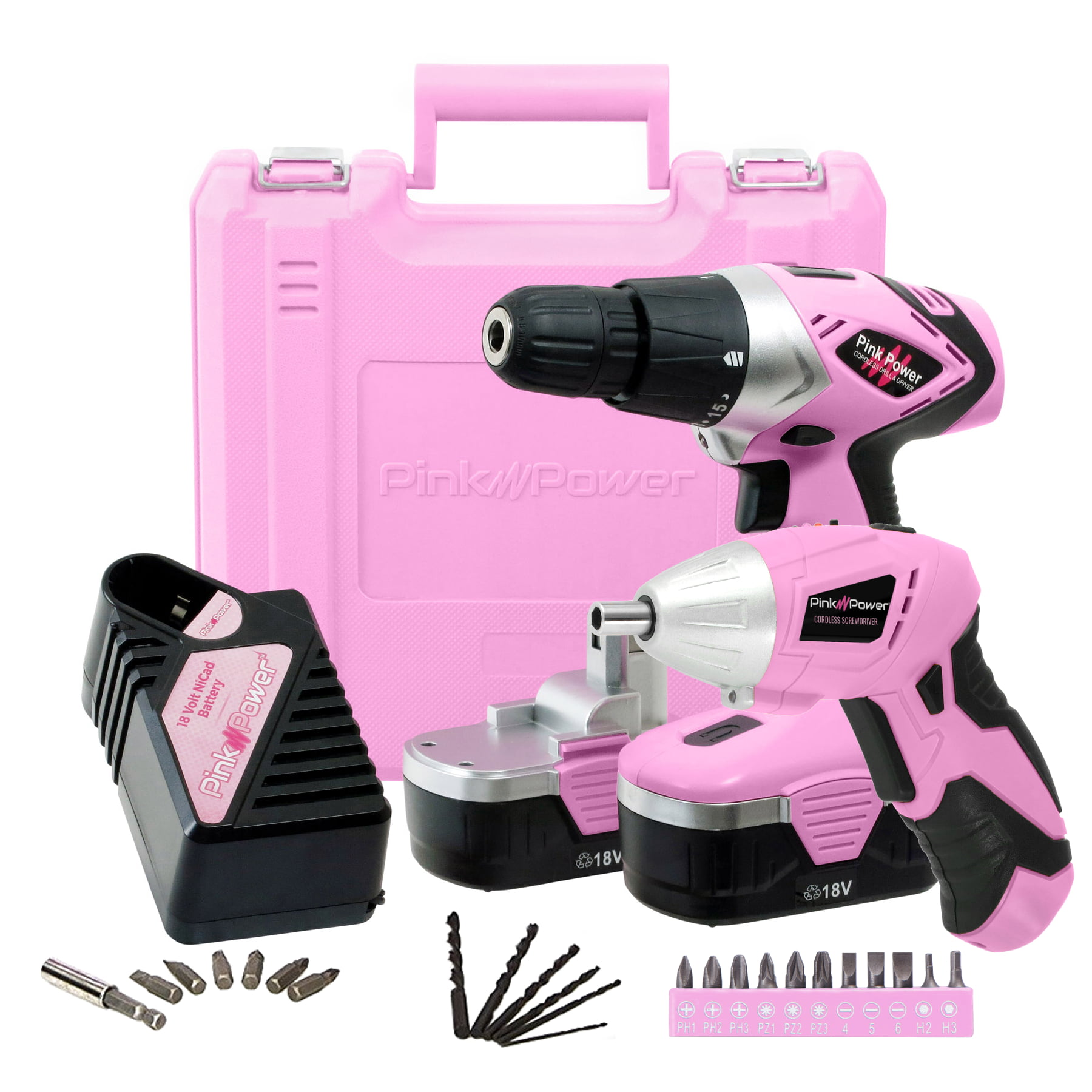 DIY Gift Pink Electric Cordless Tool Screwdriver Set With Rechargeable Battery