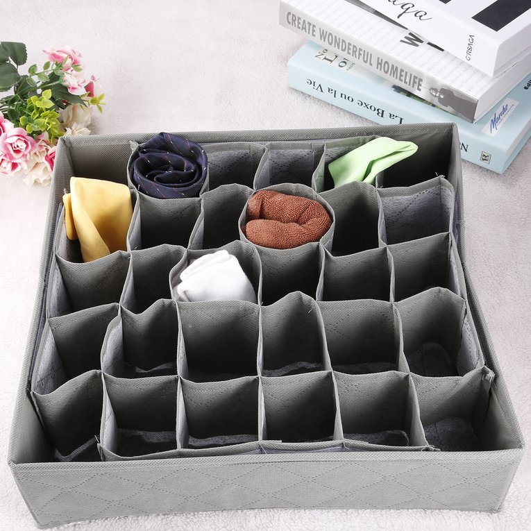 30 Grid Slot Bamboo Charcoal Ties Socks Drawer Closet Organizer Storage Box