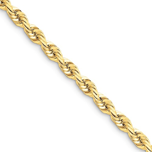 14k Yellow Gold 8in 5.5mm D/C Rope with Lobster Clasp Chain Bracelet