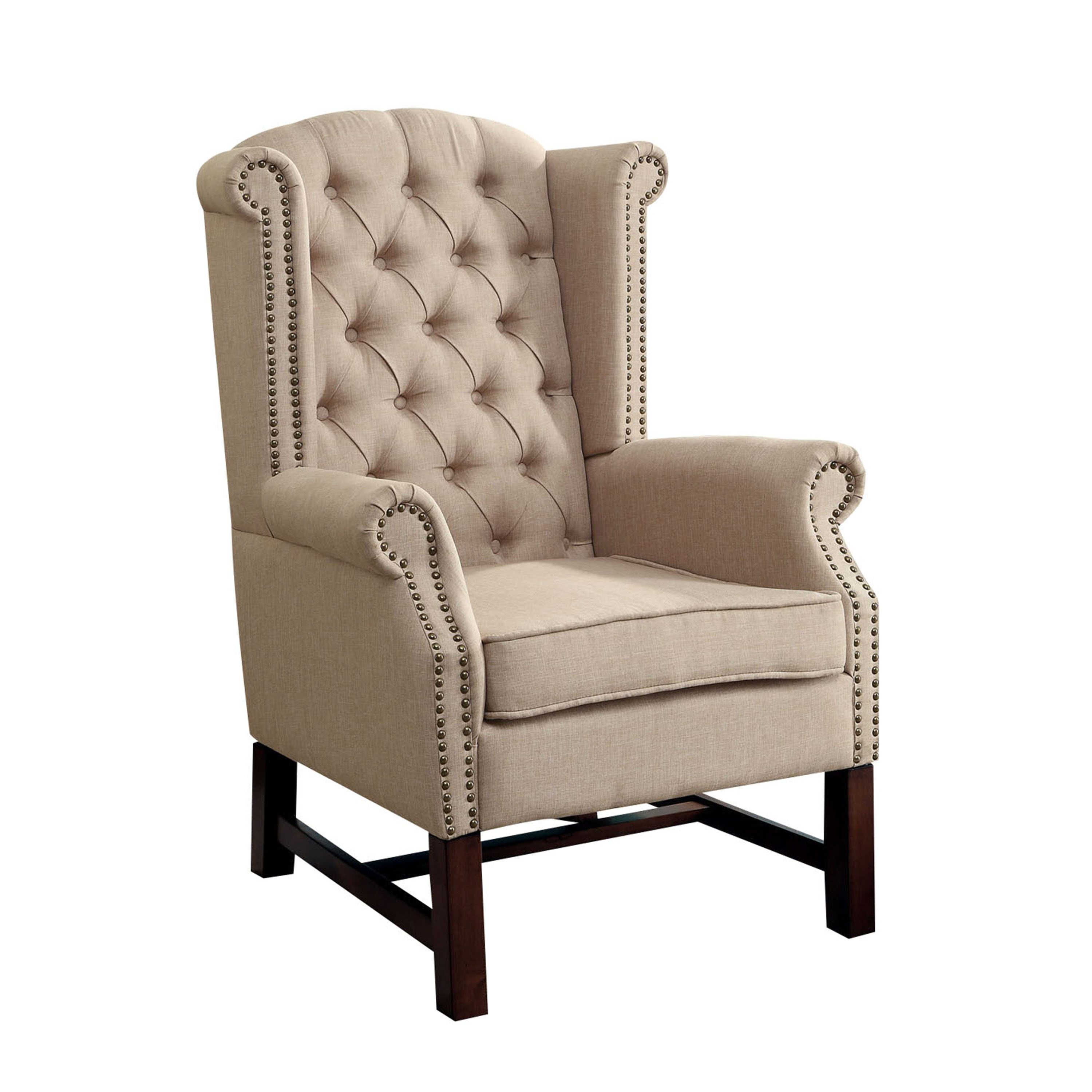 ACME Manly Accent Chair, Beige Fabric