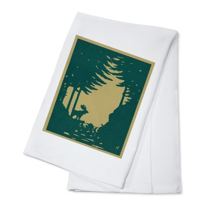 Nature Magazine   View Of A Moose In The Woods  100  Cotton Kitchen Towel