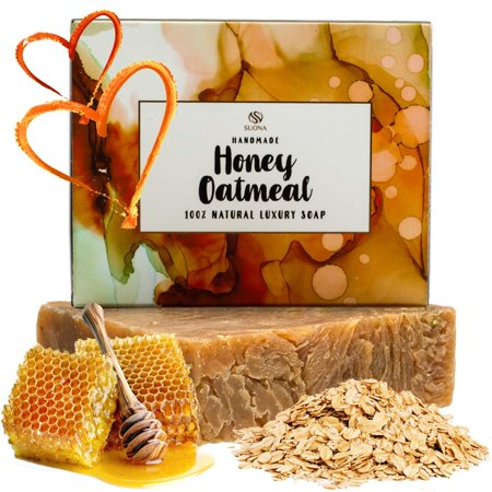 Oatmeal Honey Goat Milk Soap - Organic Exfoliating Skincare Bar for Face & Body. Also Dry Skin. 100% Natural Ingredients. Coconut & Olive Oil + Shea Butter. Unique Gift Idea for Wo