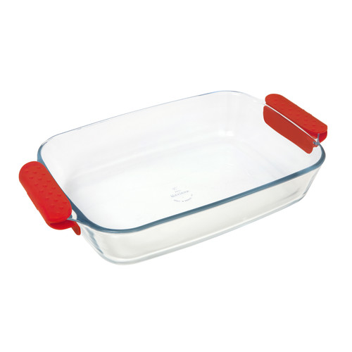 4-Quart Lancaster Colony Commerical Products GD16224648 Marinex Prediletta Large Square Glass Roaster with Red Silicone Handles