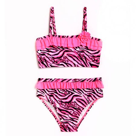 fc71cd7fb OP - Toddler Girl Animal Frenzy Pink Zebra Bikini Swimsuit - Walmart.com