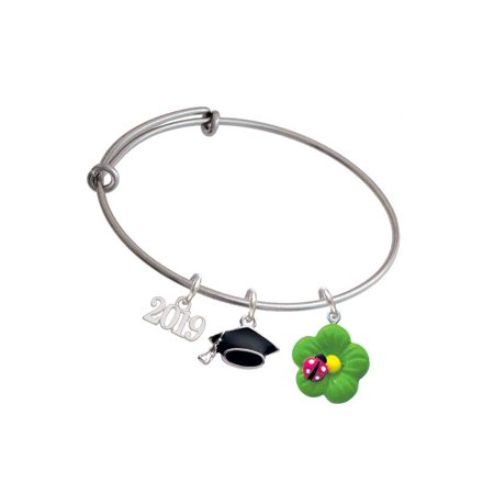 Resin Lime Green Daisy Flower with Hot Pink Ladybug - 2019 Graduation Charm Bangle -