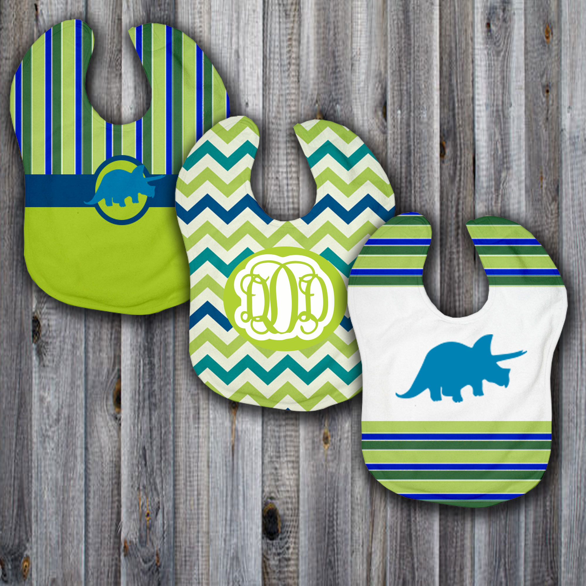Lifestyles by Ramco 3 Piece Baby Bib Set.  Dinomyte Style.  Made in the USA. Great for Baby Boy Showers.  Monogram the Baby Bibs to make it personal.