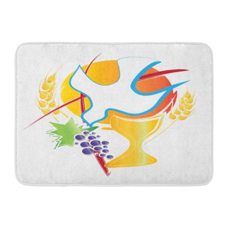 LADDKE Eucharist Symbol Chalice Holy Spirit Dove Grapes and Wheat Cross First Communion Abstract Doormat Floor Rug Bath Mat 23.6x15.7