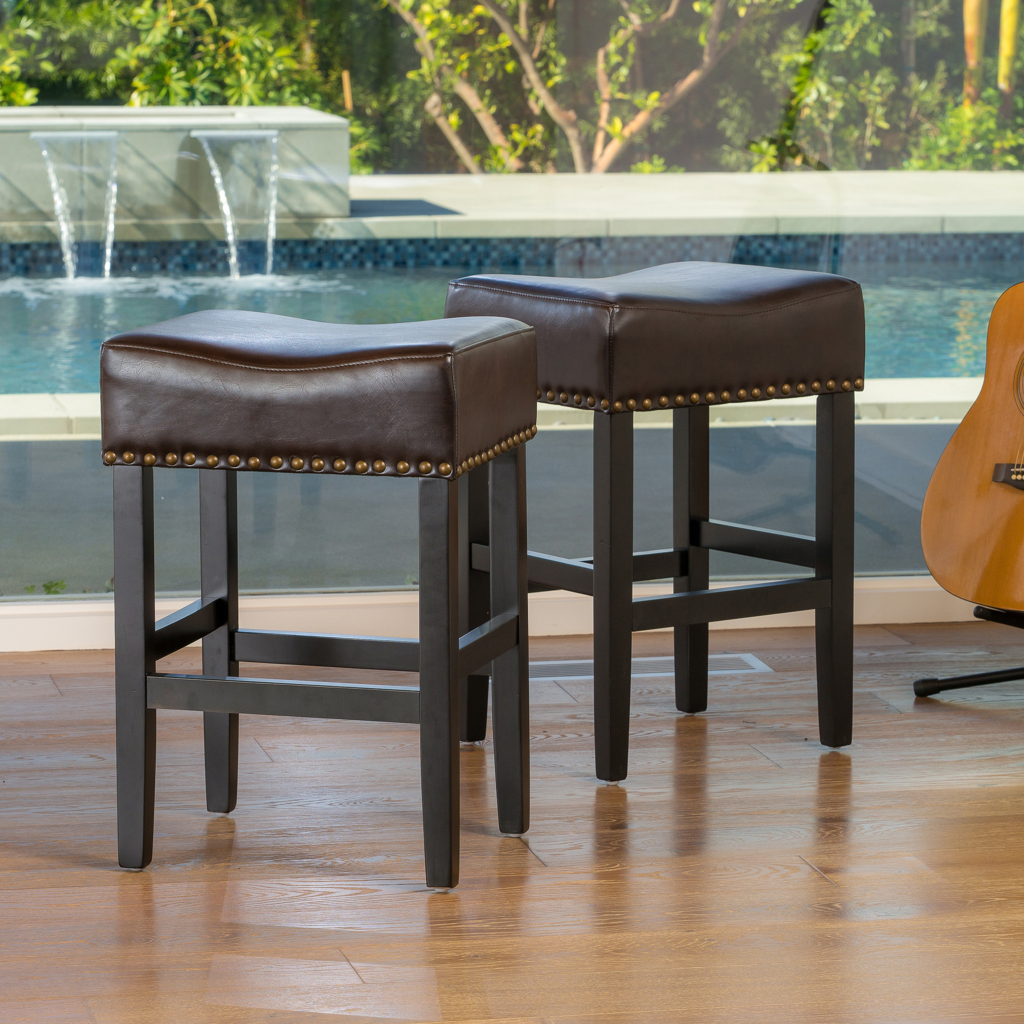 Bristol Brown Backless Counter Stool  (Set of 2)