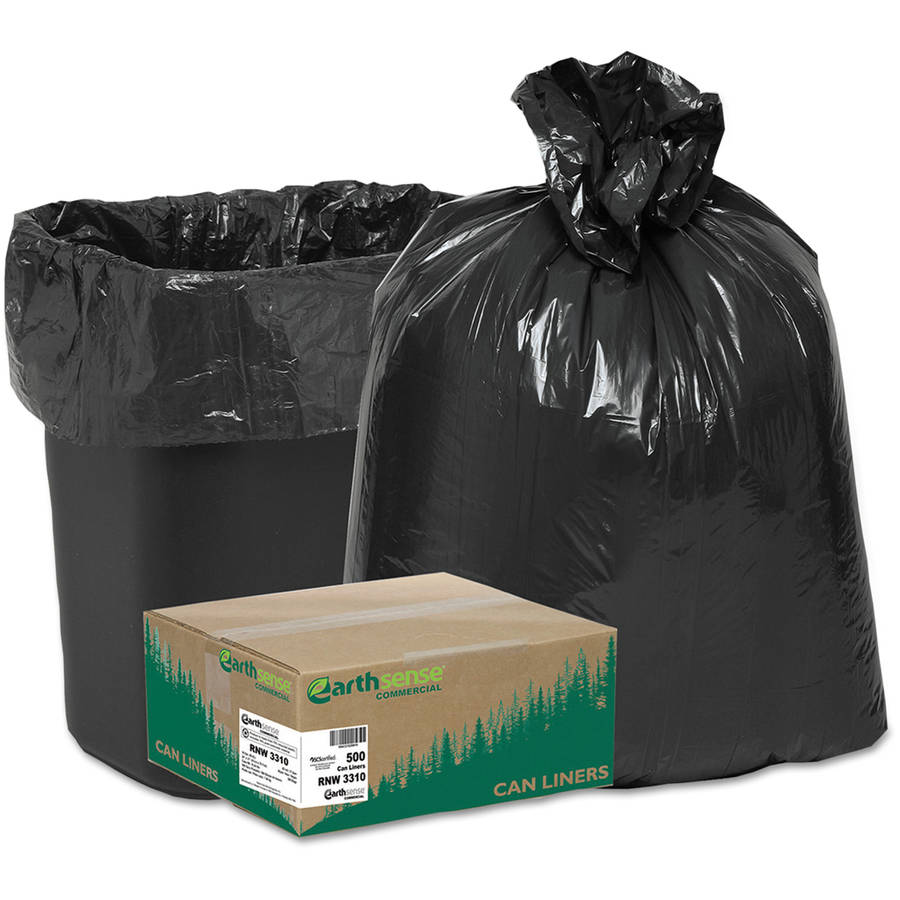 Earthsense Commercial Black trash bags, 16 gal, 500 ct