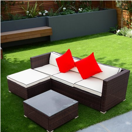 Patio Set with Cushions, 3 Piece Outdoor Conversation Set with Glass Table and Pillow, All-Weather Brown Wicker Patio Rattan Sectional Sofa Set Couch for Backyard, Porch, Garden, Poolside, L4514