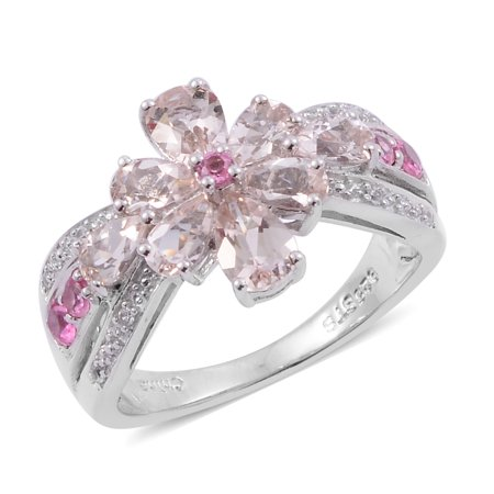 stylish Elegant Morganite Multi Gemstone Rhodium Plated Silver Cluster Cocktail Promise Ring Jewelry for Women 1.9 Cttw Size 7 Gemstone Cluster Cocktail Ring