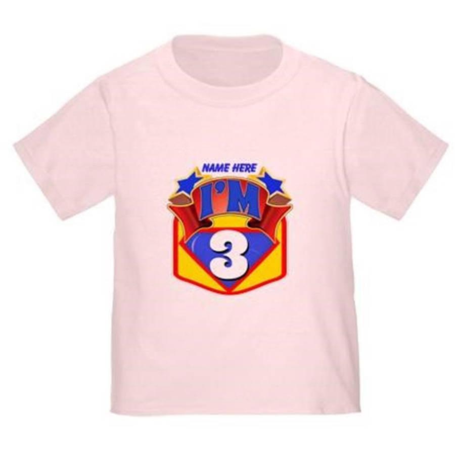 Cafepress Personalized Super Hero 3rd Birthday Toddler T-Shirt