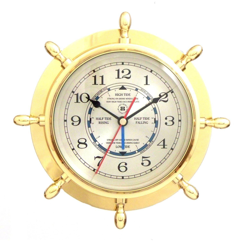 Bey Berk Brass Ships Wheel Tide/Time Clock - Tarnish Proof