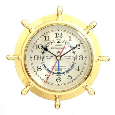 Bey-Berk International Brass Ships Wheel Tide/Time Clock - Tarnish Proof](Womens Cloak)