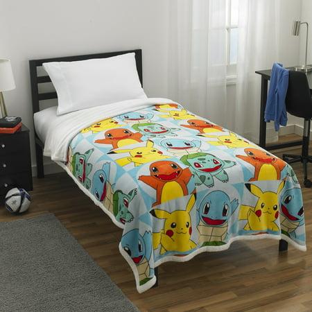 Pokemon Kids Plush with Sherpa Reverse Blanket, Twin/Full Size