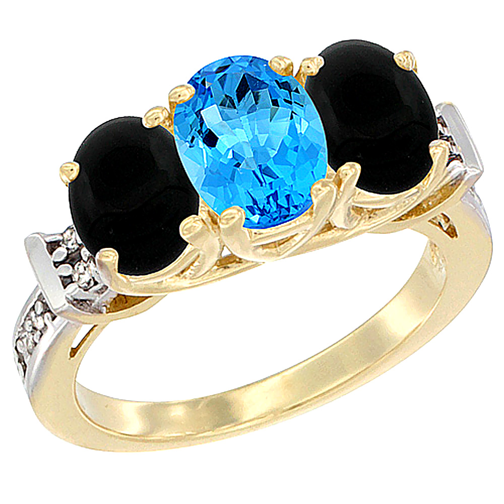 14K Yellow Gold Natural Swiss Blue Topaz & Black Onyx Sides Ring 3-Stone Oval Diamond Accent, sizes 5 10 by WorldJewels