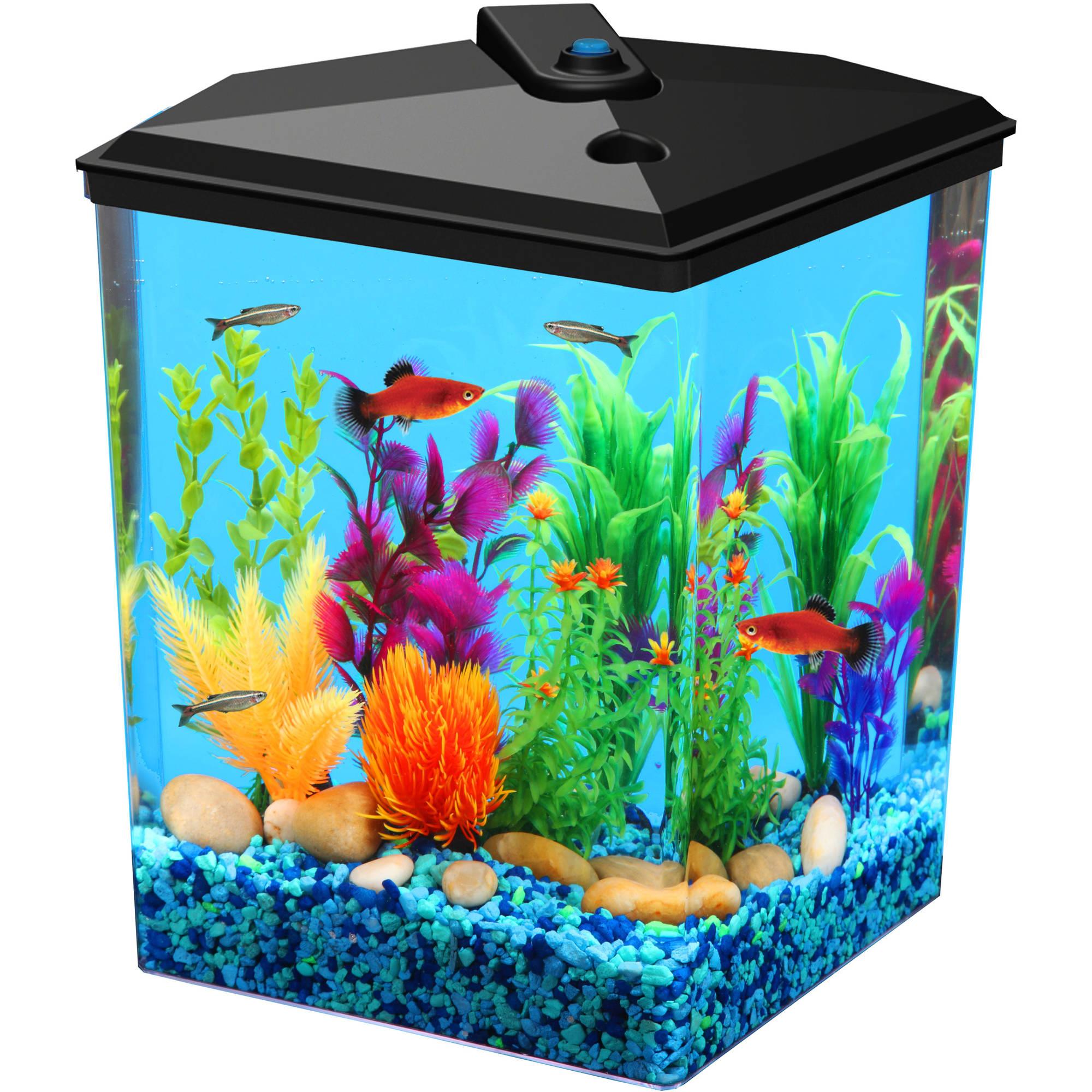 Aquaculture 2 5 Gal Corner Aquarium Kit Walmart Com