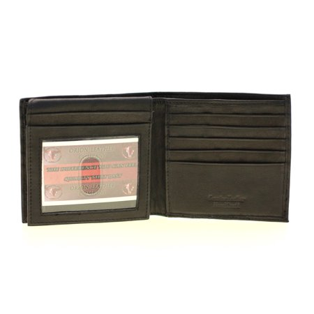 Mens Euro Hipster Wallet Genuine Leather Flap Up 2 Bill Sections 17 Card Slots (Leather Two Section)