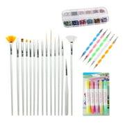 MINI-FACTORY Nail Art Kit, 15 Detail Brushes, 5 Dotting Marbleizing Pen, 4 Polish & Removal Pen Beauty Tool Kit + Rhinestones for Nail Art Designs