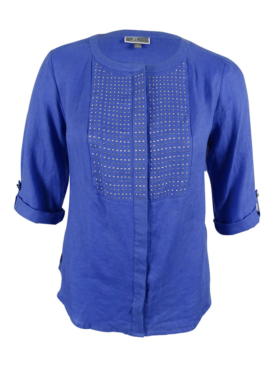 JM Collection Women's Embellished Tab-Sleeve Linen Top
