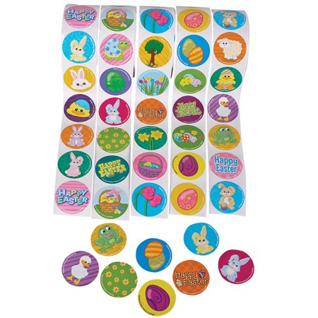 "5 Rolls of 100 Assorted 1.5"" Easter Stickers - 500 Bunny Eggs Chicks"