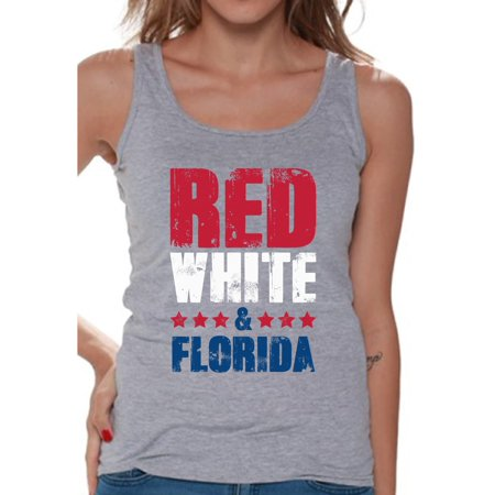 Florida Womens Tank Top - Awkward Styles Red White & Florida Tank Top for Women Florida Sleeveless Shirts 4th of July Tank Tops Women's America Flag Tank USA Women's Tank Top American Women Gifts from Florida Patriots Tank Top