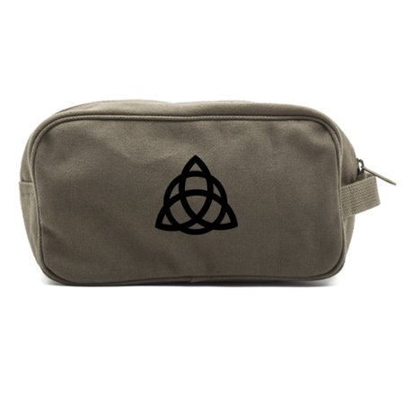 Triquetra Pagan Wiccan Canvas Dual Two Compartment Travel Toiletry Dopp Kit Bag