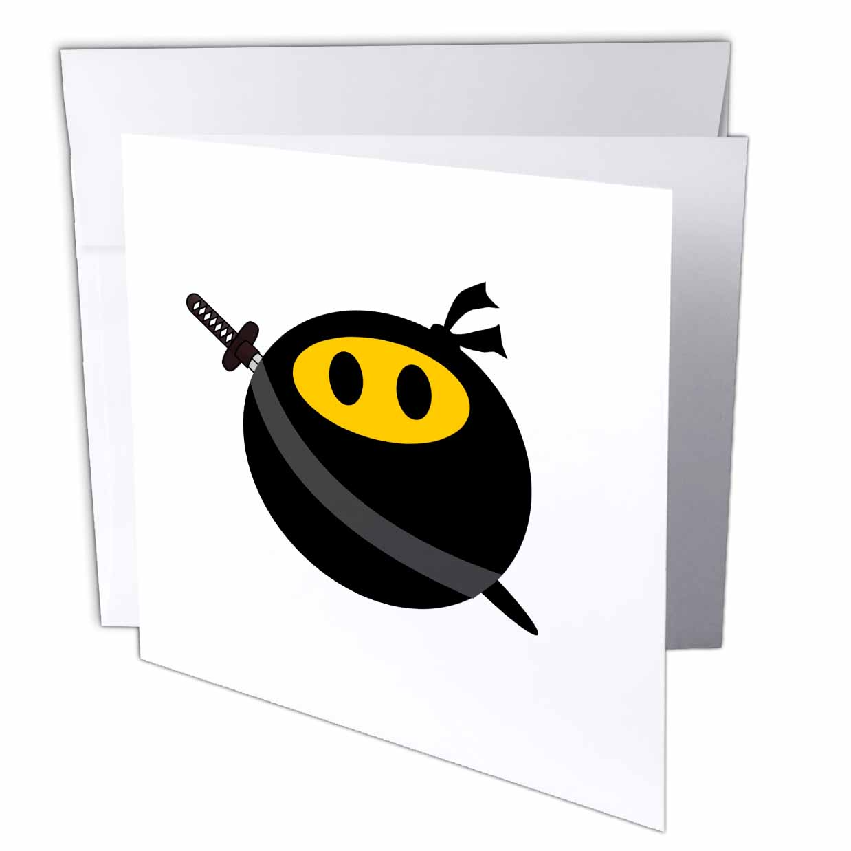3dRose Ninja smiley face - funny masked yellow happy face - fun cute spy with Japanese sword and black mask, Greeting Cards, 6 x 6 inches, set of 6