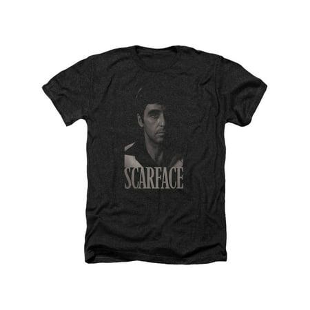 Scarface Crime Gangster Film Tony Montana Headshot Adult Heather T-Shirt - Tony Montana Halloween