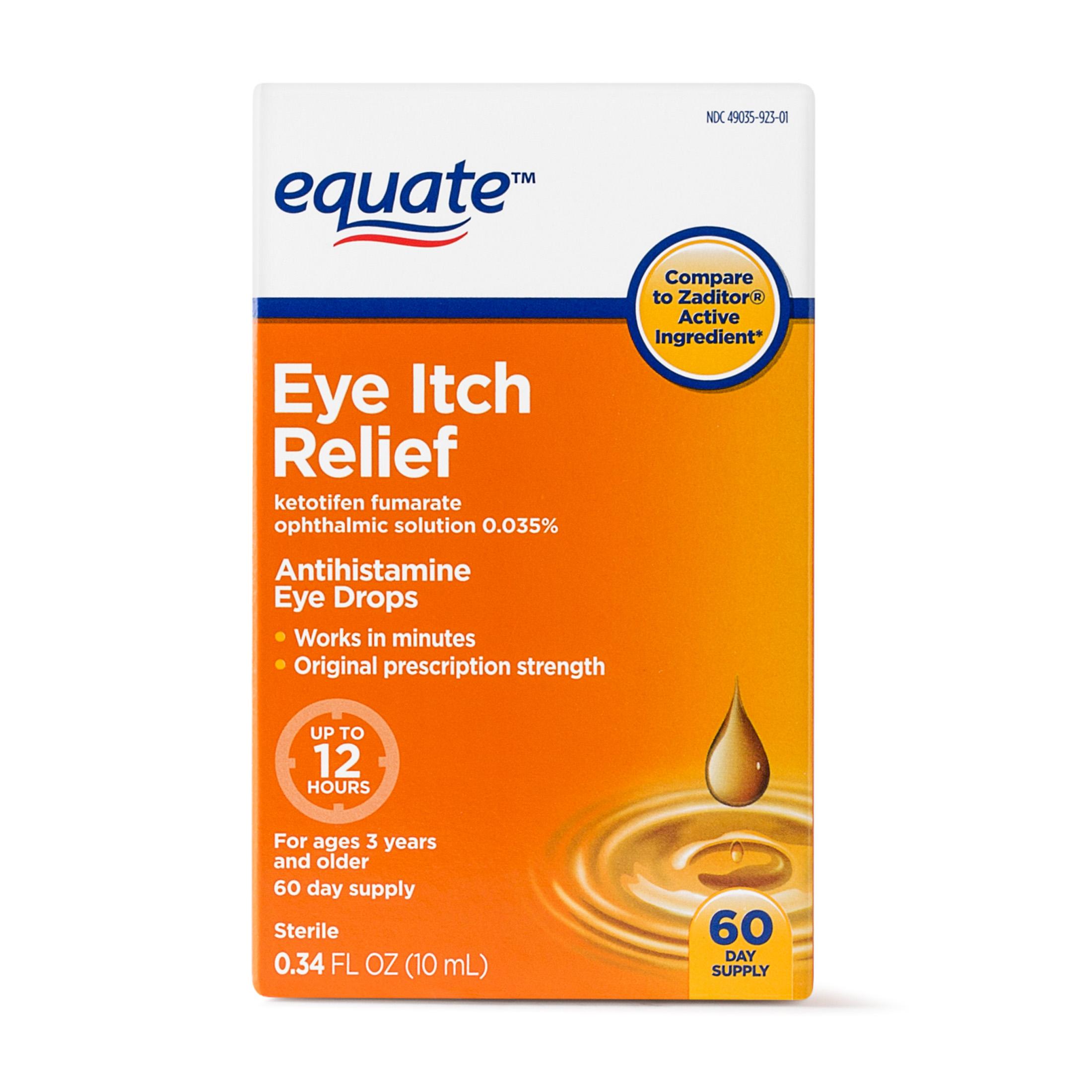 Equate Eye Itch Relief Antihistamine Eyedrops, 60 Ct, 0.34 Oz