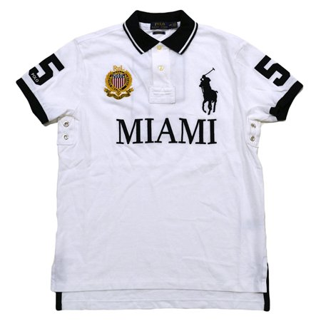 City Lauren Big Polo Mesh Mens Pony ShirtlargeWhite Ralph Miami Custom Fit 4qcA3RjS5L