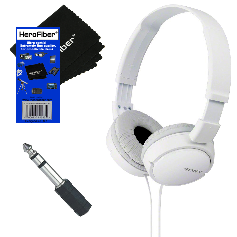 Sony MDRZX110 ZX Series Stereo Headphones (White) with 3.5mm Mini Plug to 1/4 inch Headphone Adapter & HeroFiber® Ultra Gentle Cleaning Cloth