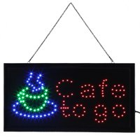 Ejoyous 1pc Large Bright LED Shop Sign Board Neon Light Window Door Hang Sign Cafe to go, Neon Sign, Neon Sign Cafe to go