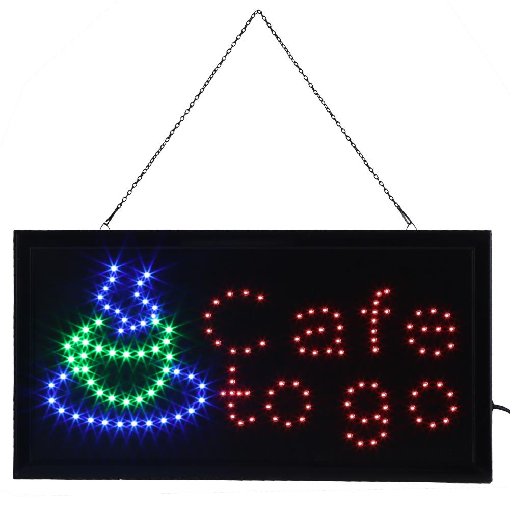 Ashata Neon Sign, Neon Sign Cafe to go,1pc Large Bright LED Shop Sign Board Neon Light Window Door Hang Sign Cafe to go