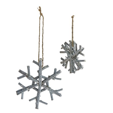 Pack of 6 Handmade Country Rustic Gray Glitter Twig Snowflake Christmas Ornaments 4