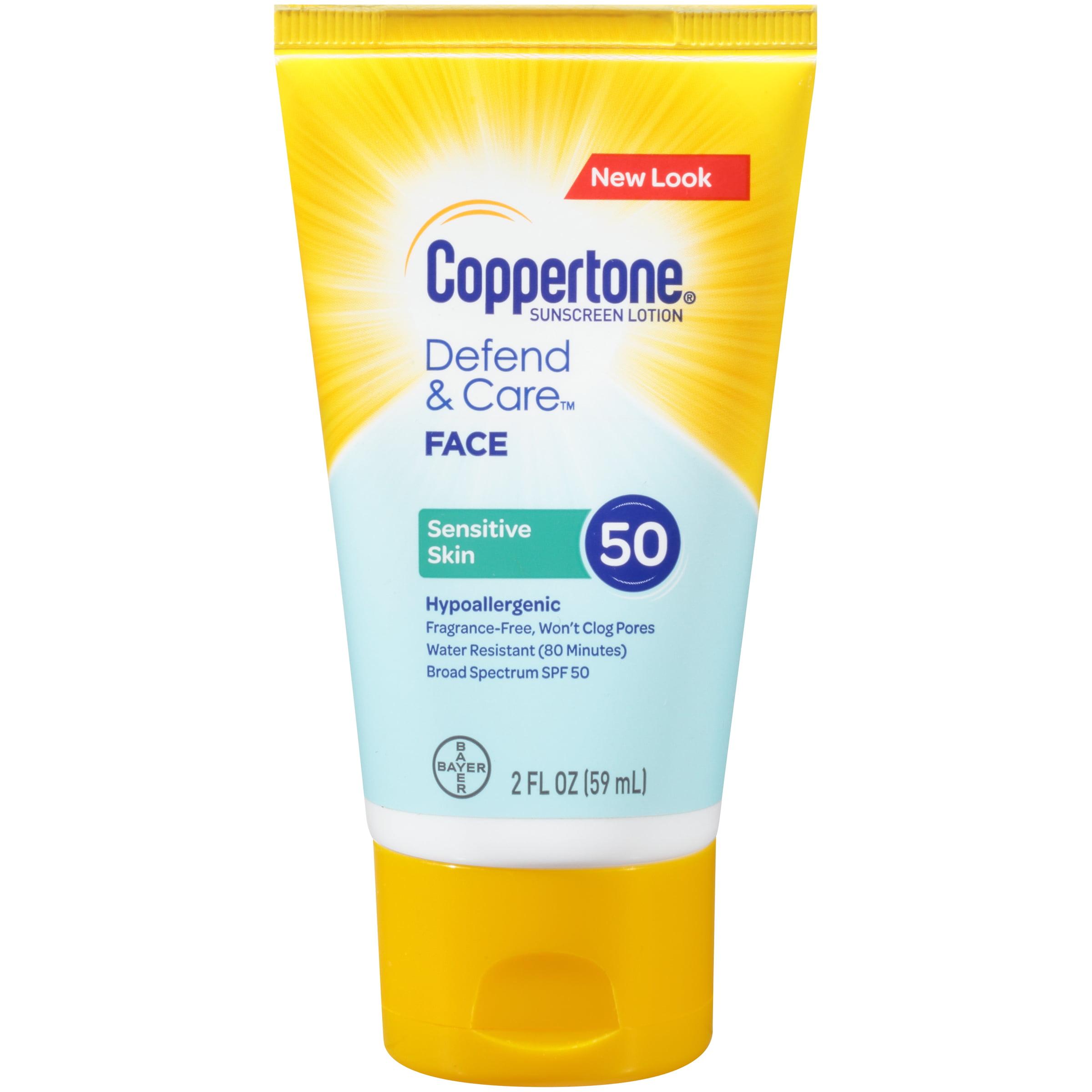 Coppertone Defend & Care Sensitive Skin Sunscreen Face Lotion SPF 50 2oz